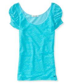 Lace Shirts for Girls Aeropostale | Aeropostale Womens Slim Lace Embellished T-Shirt | Womens Apparel ...