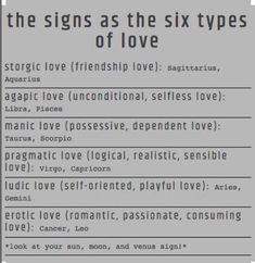 signs as six 6 types of love