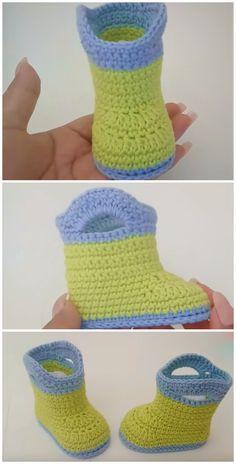 Crochet Baby Boots, Crochet Yarn, Crochet Stitches, Free Crochet, Easy Crochet Patterns, Knitting Patterns, Crochet Ideas, Baby Rain Boots, Baby Shoes