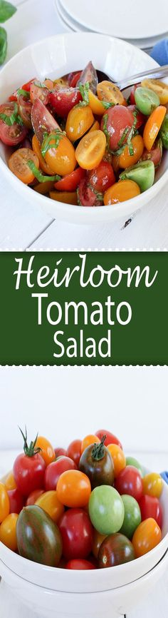 Heirloom tomato salad with fresh basil and a light dressing.