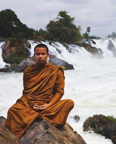 Meditating Buddhist monk, Khon Phapheng Waterfall - Siphandon, Laos #buddhist #buddhism #monk
