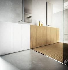 moderne Badmöbel-Set aus hellem Holz und Corian