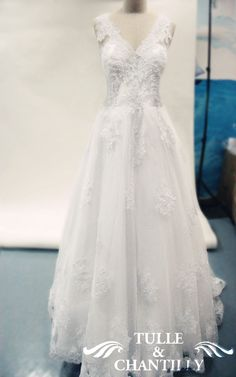 Romantic V-neck Lace Applique A-line Wedding Dresses