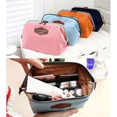 Anminlink Beauty Travel Cosmetic Bag Girl Fashion Multifunction Makeup Pouch Toiletry Case Navy