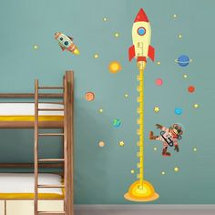 Cheap wall sticker music, Buy Quality wall sticker kid directly from China wall stickers sayings Suppliers: diy Outer space Planet Monkey Pilot Rocket home decal height measure wall sticker for kids room baby nursery growth chart Baby Decor, Kids Decor, Wall Stickers, Wall Decals, Wall Art, Home Rocket, Rockets For Kids, Space Planets, Kids Room Design