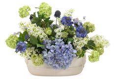 """One Kings Lane - Spring Awakening - 16"""" Scabiosa & Lilacs in Bowl, Blue"""