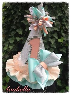 Birthday Hat. Beautiful Birthday/ Photo prop hat. Tiffany Blue, Silver and Peach. First Birthday. Keepsake.