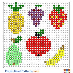 Fruits perler bead pattern. Download a great collection of free PDF templates for your perler beads at perler-bead-patterns.com