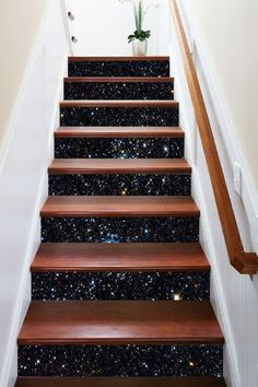 Sky Stars 18 Stair Risers Decoration Photo Mural Vinyl Decal Wallpaper US Glitter Stairs, Stair Art, Decoration Photo, Marble Stairs, Door Murals, Star Sky, 3d Star, Basement Stairs, Staircase Design