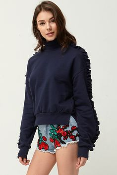 Reilly Ruffle Sleeve Sweatshirt Discover the latest fashion trends online at storets.com