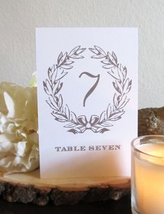 Gray Wreath Table Numbers at Pretty Chic SF