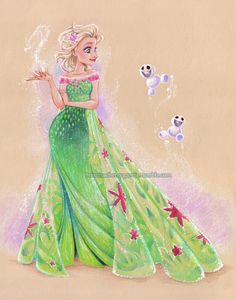 An Elsa piece I did for WonderCon. Prismacolor pencil and gouache on tan paper.