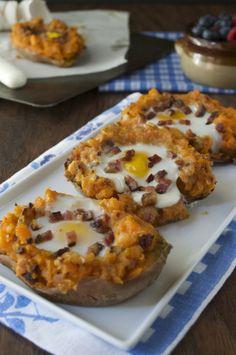 Twice Baked Breakfast Sweet Potatoes by @plaidandpaleo on @primalpalate #paleo