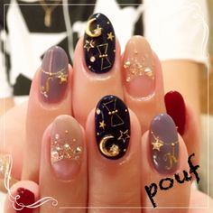 40 Cute Star Nail Art Designs For Women 2019 - Page 32 of Asian Nail Art, Asian Nails, Korean Nail Art, Korean Nails, Cute Nails, Pretty Nails, Nail Art Designs, Stars Nails, Moon Nails