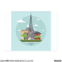 paris eiffel tower travel art postcard