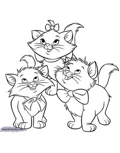 discover this amazing coloring page of the aristocats movie here the aristocats kittens marie berlioz and toulouse disney animals coloring pages