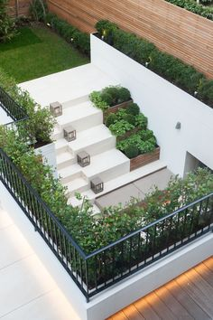 Home - Dust Architecture Small Backyard Decks, Sloped Backyard, Small Patio, Backyard Patio, Vertical Garden Design, Garden Landscape Design, Small Garden Design, Small Space Gardening, Garden Spaces