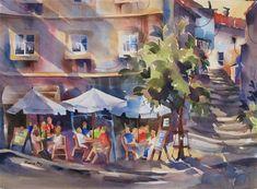 "Daily Paintworks - ""Enjoying a Vinho Verde"" - Original Fine Art for Sale - © Jinnie May"