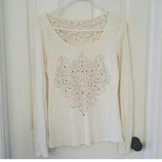 MAURICES TOP This top is lovely! It Has beautiful lace detailing in the back. Looks great with some brown boots!  Feel free to make an offer!  NO TRADES Maurices Tops Tees - Long Sleeve