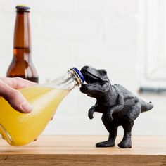 Back from extinction the T-RexTyrannosaurus bites bottle tops with ease with his super sharpawesome bone-crushing mouth, but for beer cap opening. The ferocious Tyrannosaurus might have tiny arms, but this eye-catching bottle opener is all about its mouth and the sharp teeth that will prise open your bottles with ease. The terrifying T-Rex is a fun, frightening and functional addition to your barware collection.Width260 mmHeight120 mmDepth60 mmWeight0.918 Kg