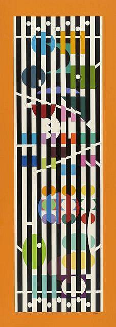 Artist: Yaacov Agam, Israeli - ) II Title: Menorah Series 2 II Year: circa 1985 II Medium: Serigraph, signed and numbered in pencil II Edition: II Size: 52 in. x 19 in. cm x cm) II Frame Size: 55 x inches Menorah, Yaacov Agam, Kinetic Art, Jewish Art, Middle School Art, Art Programs, Op Art, American Artists, Pattern Art