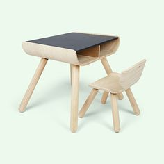 Black Plan Toys Table & Chair Desk And Chair Set, Kids Table And Chairs, Kid Table, Playroom Furniture, Baby Nursery Furniture, Kids Furniture, Nursery Ideas, Nursery Decor, Wooden High Chairs