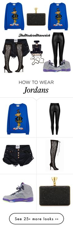 """""""Daffy Duck x 2"""" by theblushingbeauty on Polyvore featuring Moschino, River Island, Nly Shoes, Tom Ford and Chanel"""