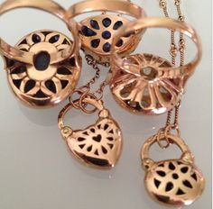 Beauty is in the details... 14kt Rose Gold Rings and Padlocks - Arik Kastan