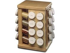 This hard rock sugar maple rack has an ultra-smooth surface and turns on industrial strength ball bearing swivels, offering good looks and convenience when storing spices.