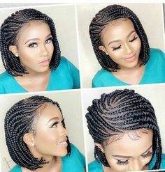 Braided wig/ Ghana Weaving/ lace wig /wig Feature: Neatly and Tightly Done, Glue-less, Adjustable St Short Box Braids, Blonde Box Braids, Bob Braids, Braids Wig, Braids For Black Hair, Twist Braids, African Braids Hairstyles, Braided Hairstyles, Black Hairstyles