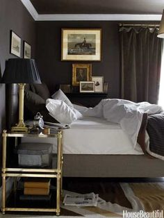 Dark English Style Bedroom Walls - Antique Decorating Ideas - House Beautiful