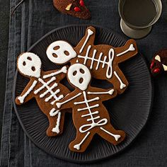 Use gingerbread cookie cutters to make skeleton cookies.