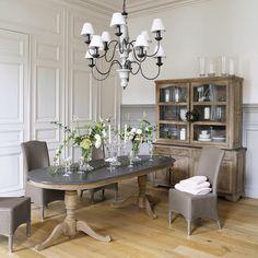 Table de salle à manger en manguier grise effet vieilli L 240 cm