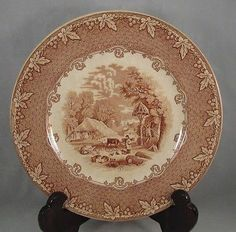 Old Hall Staffordshire England Brown Transfer Ware Farm Scene Plate  9 1/4diameter