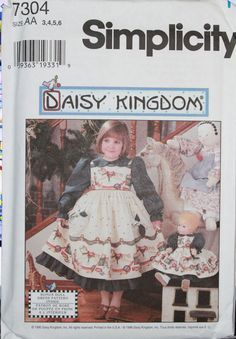 Simplicity Daisy Kingdom Dress Pinafore Pattern 7304 Girls 3 4 5 6 17 inch doll #Simplicity