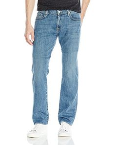 Standard straight leg jean featuring five pocket styling and embroidered back pockets Comfortable rise with ease through hip and thigh Zip-fly with button closure