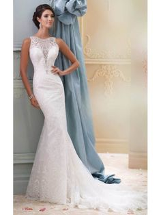 MERMAID/TRUMPET LACE JEWEL EMPIRE COURT TRAIN TULLE WEDDING DRESSES, APPLIQUES FULL BACK WEDDING GOWN