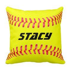 Custom Softball Throw Pillow