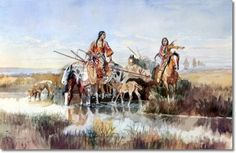 "Charles Marion Russell, ""Squaws with Travois,"" 1897"