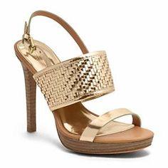 Guilt-Free Shopping, Worth the Money: Steffi- Weave Pattern Platform Heel Dark Gold, Coach, $228