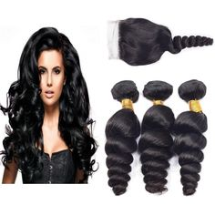 Ali AMY Brazilian Virgin Hair Loose Wave Free Part Lace Closure With 3 Human Hair Bundles (16,18,20+ 14) Unprocessed Brazilian Remy Hair Weave Bundles Natural Color. 100% Human virgin hair from healthy donors and Grade is 7A. Ali AMY is a Unique and Professional human hair Brand. We Never Authorized other sellers sell our products. 3 bundles with a lace closure per lot ,95-105g per bundle , standard length 8 to 28inches , arbitrary combination with your need. No Sheds ,No Tangles ,No…