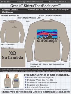 Chi Omega 500346proofR1 ...................................................  WORK 1 ON 1 with a member of our design team until your T-Shirt idea is perfect.... and ALWAYS get them on in time (or before you even need them) at the price you want!  ...................................................  Just click this design, it will take you to our website where you can  upload your ideas and get everything started!