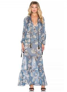 #xmas #Christmas #Oasap.com - #Roawe Women's V Neck Long Sleeve Floral Loose Maxi Dress - AdoreWe.com