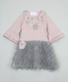 Look what I found on #zulily! Vintage Rose & Gray Ruffle Dress - Kids #zulilyfinds