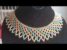 Renkli Kum Boncuklu Kolye - YouTube Beading Tutorials, Beading Patterns, Seed Bead Projects, Crochet Flower Tutorial, Beaded Jewelry Designs, Flower Bracelet, How To Make Beads, Bead Weaving, Bead Crafts