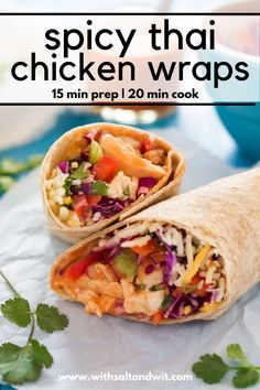 Spicy Thai Chicken Wraps are the perfect meal! Filled with a spicy Thai slaw, grilled chicken, pepper jack cheese & drizzled with Sriracha honey aioli! Healthy Sandwich Recipes, Healthy Sandwiches, Easy Healthy Recipes, Healthy Food, Yummy Food, Spicy Chicken Wrap, Grilled Chicken, Fresh Eats, Recipes With Few Ingredients