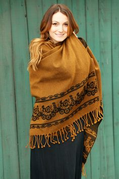 The Señor Tyrone Tobacco Classic poncho can be worn as a Serape, Ruanna, scarf, cape or shawl. visit www.senortyrone.com