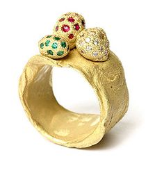 Karl Fritsch  Ring: Untitled 2004.  Gold 750, diamonds, rubies, emeralds