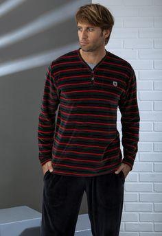 Pijama hombre terciopelo Massana Mens Pyjamas, Lounge Wear, Underwear, Pajamas, Menswear, Street Style, Long Sleeve, Mens Tops, How To Wear