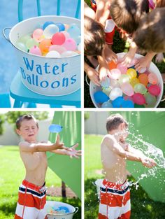 Fill a bucket with water balloons. The kids must give passes to each other without breaking the water balloons. Outdoor Activities For Kids, Creative Activities, Games For Kids, Water Balloon Fight, Water Balloons, Sand Play, Water Party, Kids Play Area, Toddler Fun